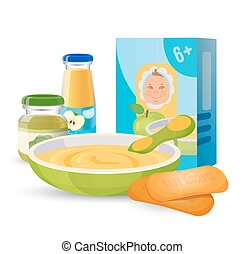 Healthy breakfast for baby with porridge and biscuits -...