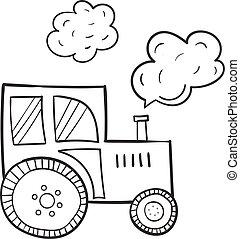 Hand-drawn tractor, in a cartoon style, the primitive subjects of agriculture, black contour on white background