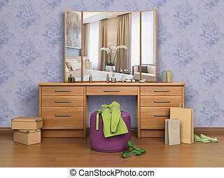 room with console mirror, boxes and shoes, 3d illustration