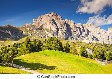 Beautiful mountains landscape - View on the Puez Odle or...