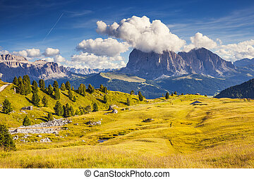 magical mountain landscape - View on the Sassolungo...