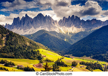 Dolomites mountain landscape - Countryside view of the...