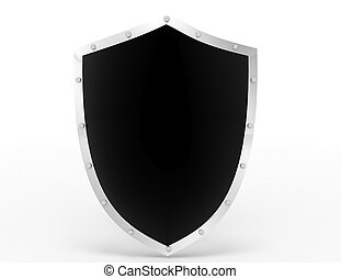 shield icon on white. 3d rendered illustration