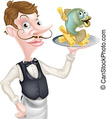Cartoon Waiter Butler Holding Fish and Chips - An...