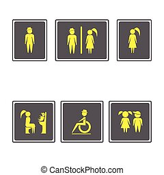 Toilet Signs ,Restroom Signboards.Boy and girl icon.man and woman icon.Family icons set.Vector illustration