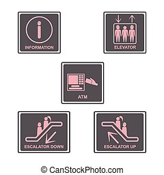 Information signboard. Elevator sign,Escalators sign. Automated teller machine.ATM sign.People icons set.Vector illustration