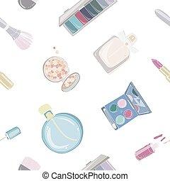 Fashion cosmetics seamless pattern with make up artist...