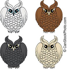 Set of color images with owls. Vector isolated objects on...