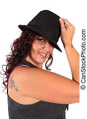 Pretty hat woman