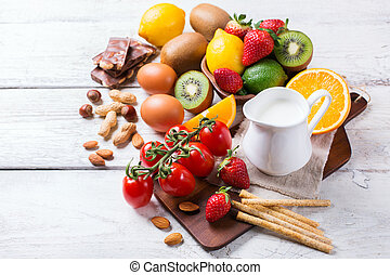 Selection of allergy food, healthy life concept - Selection...