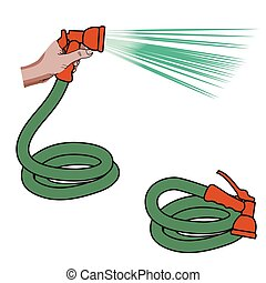 Water hose and hand holding it with water flowing