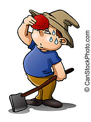 tired farmer on isolated white - illustration of a tired...