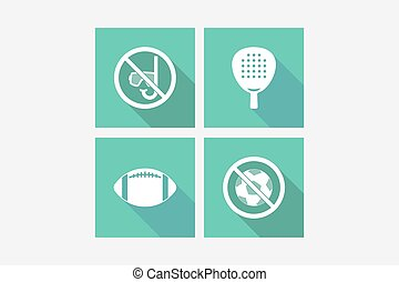 Set of long shadowillustrations with  sports and recreation related icons