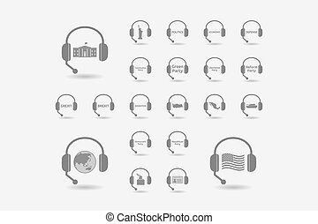Set of hands free headsets with  politics, democracy, diplomacy and international relations related icons