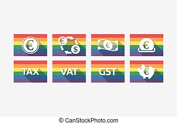 Set of gay pride flags with