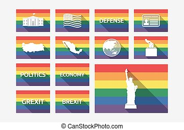 Set of gay pride flags with  politics, democracy, diplomacy and international relations related icons