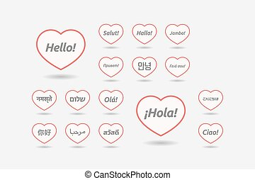 Set of line art hearts with  the word hello in different languages