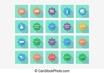Set of gears with  politics, democracy, diplomacy and international relations related icons