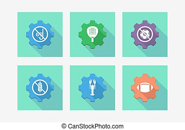 Set of gears with  sports and recreation related icons