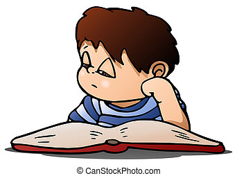 boy study on isolated white - illustration of a boy lazy to...