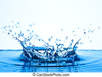 water splash - blue water splashing isolated on white...