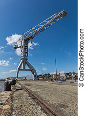 Gray crane titan in Nantes (France) - Gigantic gray crane...