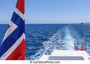 Norway flag and view from a boat tail - Norway flag and view...