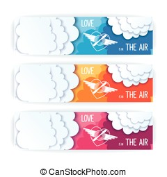 Love is in the air - Flat design banners with message....