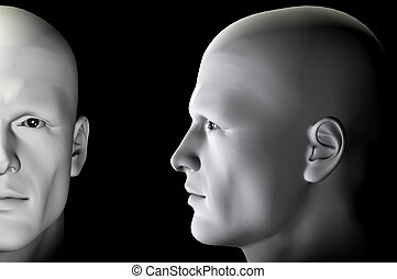 profile portrait - Male figure profile and portrait on black...