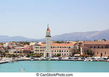 zakynthos port - Panoramic view of the town and port of...
