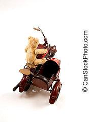 Teddy rider - Teddy toy riding a sidecar motorcycle