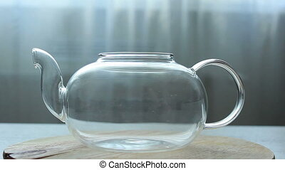 video of Process of brewing green Chinese tea in a glass...