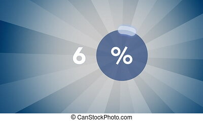 Blue percentage progress indicator - Blue glowing percentage...