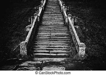 Old church staircase - Black and white image of an old...