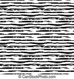 Hand drawn grunge ink strokes on white, seamless pattern - A...
