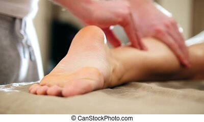 Sesame oil massage for heel foot. Relaxation treatment for...