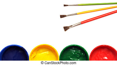 opened paint buckets with brush on white