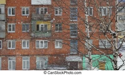 Winter beautiful snowfall view from window outdoor in slow...