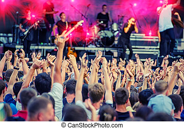 Fans during a rock band concert