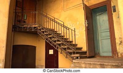 Staircase in the courtyard in St. Petersburg. 4K. -...