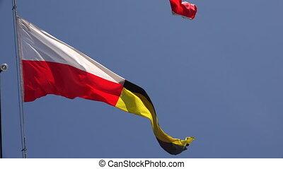 Four-ensign. A triangle. 4K. - Four-ensign. A triangle. Shot...
