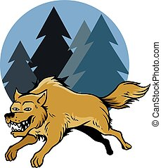 Jumping Wolf And Pine Trees - Vector illustration of jumping...