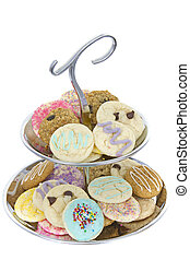 cookies on silver tiered platter - nicely laid out cookies...