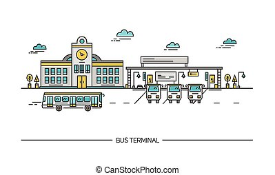 Line art bus terminal, station. Colorful illustration in flat style.