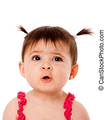 Funny baby face expression - Face of cute surprised baby...