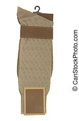 hombre, calcetines, marrón, etiqueta