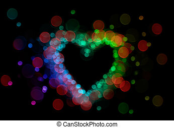 defocussed lights heart - heart shape form by colorful bokeh...