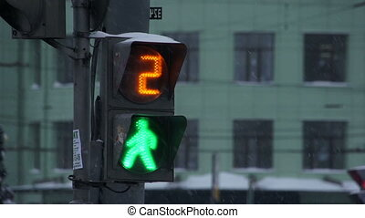 Traffic lights on street - Closeup of traffic light in...