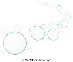 soap bubbles - lots of soap bubbles isolated on white...