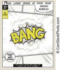 Bang. Explosion in comic style with lettering and realistic...